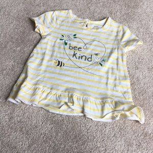 NWOT Yellow and White Striped 'bee kind' Top 18-24